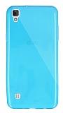 Dafoni Aircraft LG X Style Ultra İnce Şeffaf Mavi Silikon Kılıf