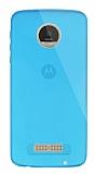 Dafoni Aircraft Motorola Moto Z Play Ultra İnce Şeffaf Mavi Silikon Kılıf