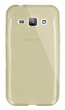 Dafoni Aircraft Samsung Galaxy J1 Ultra İnce Şeffaf Gold Silikon Kılıf