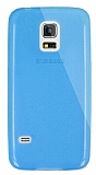 Dafoni Aircraft Samsung Galaxy S5 mini Ultra İnce Şeffaf Mavi Silikon Kılıf