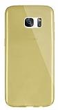 Dafoni Aircraft Samsung Galaxy S7 edge Ultra İnce Şeffaf Gold Silikon Kılıf