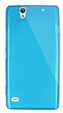 Dafoni Aircraft Sony Xperia C4 Ultra İnce Şeffaf Mavi Silikon Kılıf