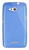 Dafoni Aircraft Sony Xperia E4g Ultra İnce Şeffaf Mavi Silikon Kılıf
