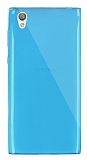 Dafoni Aircraft Sony Xperia L1 Ultra İnce Şeffaf Mavi Silikon Kılıf