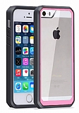 Dafoni Color Side iPhone SE / 5 / 5S Kristal Pembe Kılıf