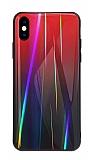 Dafoni Colorful iPhone XS Max Cam Kırmızı Kılıf