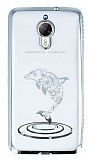 Dafoni Crystal Dream General Mobile GM 5 Plus Taşlı İnci Silver Kenarlı Silikon Kılıf