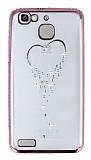 Dafoni Crystal Dream Huawei GR3 Taşlı İnci Rose Gold Kenarlı Silikon Kılıf