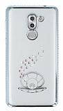 Dafoni Crystal Dream Huawei GR5 2017 Taşlı İnci Silver Kenarlı Silikon Kılıf