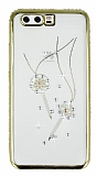 Dafoni Crystal Dream Huawei P10 Taşlı Anahtar Gold Kenarlı Silikon Kılıf