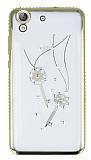 Dafoni Crystal Dream Huawei Y6 ii Taşlı İnci Gold Kenarlı Silikon Kılıf