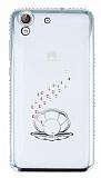 Dafoni Crystal Dream Huawei Y6 ii Taşlı İnci Silver Kenarlı Silikon Kılıf