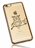 Dafoni Crystal Dream iPhone 6 Plus / 6S Plus Taşlı Baykuş Gold Kenarlı Silikon Kılıf