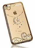 Dafoni Crystal Dream iPhone 6 Plus / 6S Plus Taşlı Ay Yıldız Gold Kenarlı Silikon Kılıf