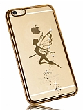 Dafoni Crystal Dream iPhone 6 Plus / 6S Plus Taşlı Fairy Gold Kenarlı Silikon Kılıf