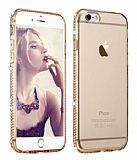 Dafoni Crystal Dream iPhone 6 Plus / 6S Plus Taşlı Gold Silikon Kılıf