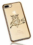 Dafoni Crystal Dream iPhone 7 Plus Taşlı Baykuş Gold Kenarlı Silikon Kılıf