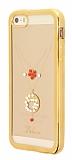 Dafoni Crystal Dream iPhone SE / 5 / 5S Taşlı Ring Şeffaf Silikon Kılıf