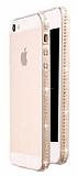Dafoni Crystal Dream iPhone SE / 5 / 5S Taşlı Şeffaf Silikon Kılıf