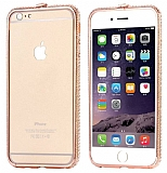 Dafoni Crystal Dream iPhone 6 / 6S Metal Taşlı Bumper Çerçeve Rose Gold Kılıf