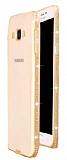 Dafoni Crystal Dream Samsung Galaxy A8 Taşlı Gold Silikon Kılıf