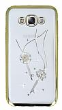 Dafoni Crystal Dream Samsung Galaxy E5 Taşlı Anahtar Gold Kenarlı Silikon Kılıf