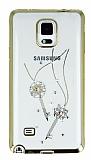 Dafoni Crystal Dream Samsung Galaxy Note 4 Taşlı Anahtar Gold Kenarlı Silikon Kılıf