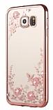 Dafoni Crystal Dream Samsung Galaxy S6 Edge Taşlı Rose Gold Şeffaf Silikon Kılıf