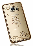 Dafoni Crystal Dream Samsung Galaxy S7 Edge Taşlı Ay Yıldız Gold Kenarlı Silikon Kılıf