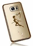 Dafoni Crystal Dream Samsung Galaxy S7 Edge Taşlı Fairy Gold Kenarlı Silikon Kılıf
