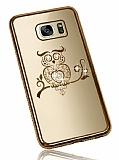 Dafoni Crystal Dream Samsung Galaxy S7 Edge Taşlı Baykuş Gold Kenarlı Silikon Kılıf