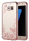 Dafoni Crystal Dream Samsung Galaxy S7 Edge Taşlı Rose Gold Şeffaf Silikon Kılıf