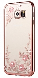 Dafoni Crystal Dream Samsung Galaxy S7 Taşlı Rose Gold Şeffaf Silikon Kılıf