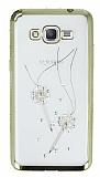 Dafoni Crystal Dream Samsung Galaxy Grand Prime / Prime Plus Taşlı Anahtar Gold Kenarlı Silikon Kılıf
