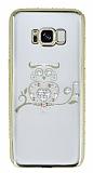 Dafoni Crystal Dream Samsung Galaxy S8 Taşlı Baykuş Gold Kenarlı Silikon Kılıf
