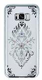 Dafoni Crystal Dream Samsung Galaxy S8 Plus Renkli Taşlı Silver Silikon Kılıf