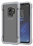 Dafoni Duro Samsung Galaxy S9 Plus Ultra Koruma Silver Kenarlı Şeffaf Kılıf