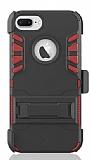 Dafoni Extra Defence iPhone 7 Plus Kemer Klipsli Ultra Koruma Kırmızı Kılıf