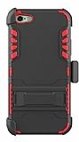 Dafoni Extra Defence iPhone SE / 5 / 5S Kemer Klipsli Kırmızı Ultra Koruma Kılıf