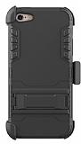 Dafoni Extra Defence iPhone SE / 5 / 5S Kemer Klipsli Siyah Ultra Koruma Kılıf