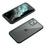 Dafoni Extra iPhone 11 Pro Max 360 Derece Koruma Cam Yeşil Kılıf