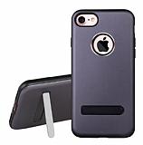 Dafoni Level Shield iPhone 7 Standlı Ultra Koruma Dark Silver Kılıf