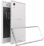Dafoni Fit Hybrid Sony Xperia XA1 Ultra Şeffaf Kenarlı Şeffaf Kılıf