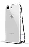 Dafoni Glass Guard 7 / 8 Metal Kenarlı 360 Derece Koruma Cam Beyaz Kılıf