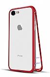 Dafoni Glass Guard 7 / 8 Metal Kenarlı 360 Derece Koruma Cam Kırmızı Kılıf