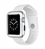 Dafoni Glass Guard Apple Watch 4 Metal Kenarlı Silver Kılıf 44mm