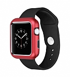 Dafoni Glass Guard Apple Watch 4 Metal Kenarlı Kırmızı Kılıf 40mm