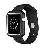 Dafoni Glass Guard Apple Watch 4 Metal Kenarlı Siyah Kılıf 40mm