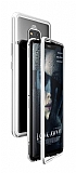 Dafoni Glass Guard Huawei Mate 20 Pro Metal Kenarlı Cam Silver Kılıf