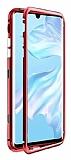 Dafoni Glass Guard Huawei Mate 30 Pro Metal Kenarlı Cam Kırmızı Kılıf